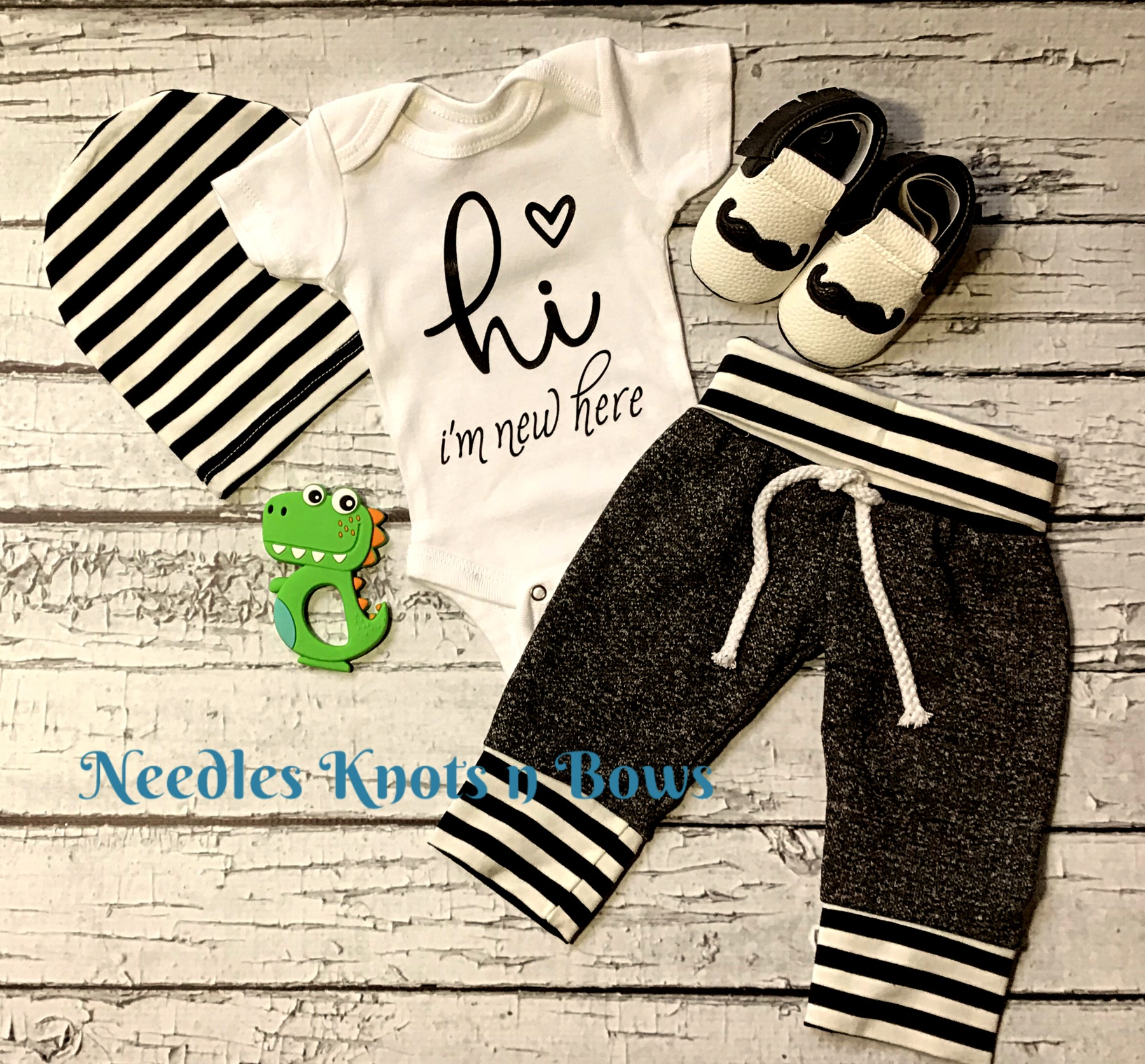 3ceaba231 Baby Boys Coming Home Outfit, Hi I'm New Here Onesie Jogger Set ...