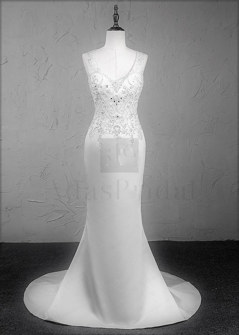 Wedding Dress Create.Gatsby Tulle Satin V Neck Neckline Mermaid Wedding Dress With Beaded Embroidery From Curvy Brides
