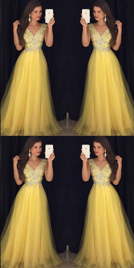 c2bd73dc52a0 Pretty Beading V Neck Long Yellow Prom Dresses, Formal Evening Gowns,Evening  Party Dresses