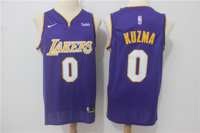 save off 0383f 32c2a Men's Lakers Kyle Kuzma #0 Purple Swingman Jersey Replica Stadium Outfit