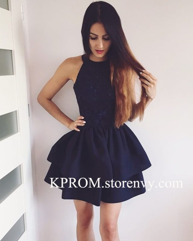 Navy Blue Halter Cocktail Dress for Women,Short Party Gown