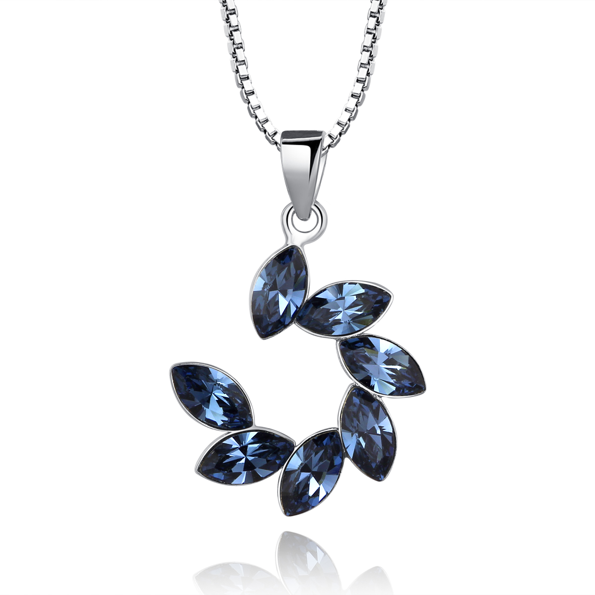 ebce7c28e484af Google Chicute Sterling Silver Flower Swarovski Hanging Crystals Pendant  Necklace And 18 Inch Chain Women Jewelry