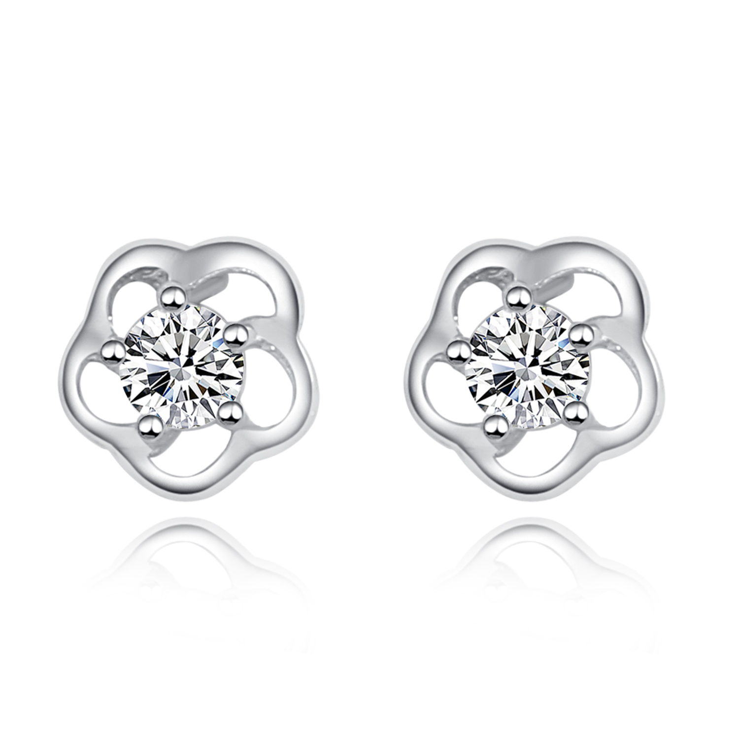 d7fa574eb8cb3 Google Chicute Cubic Zirconia CZ Pave Rose Flower Design 925 Sterling  Silver Stud Earrings