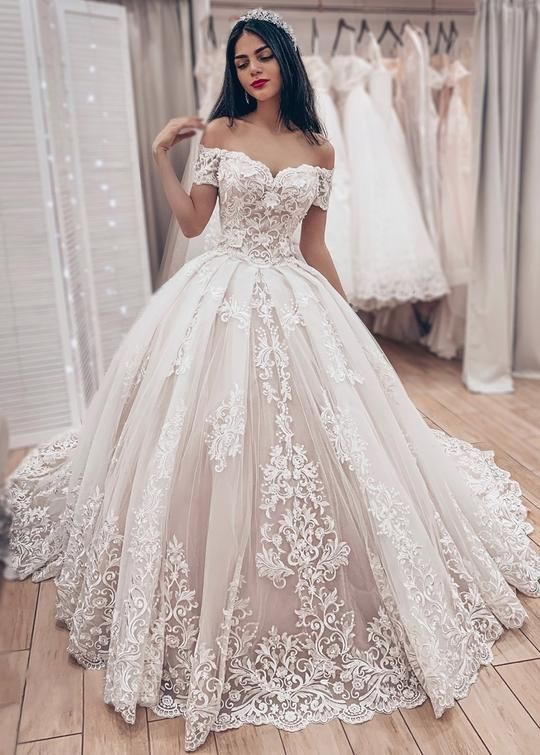 Ball Gown Off Shoulder Sleeve Wedding Dress High Quality French Lace Wedding Dress From Sancta Sophia
