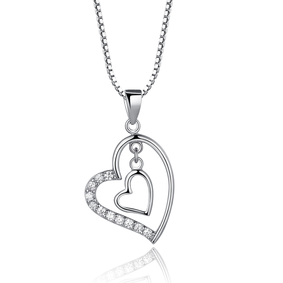 925 sterling silver paved cubic zirconia cz diamond drop two love 925 sterling silver paved diamond drop two love heart pendant necklace 18inch w silver singapore chain aloadofball Image collections