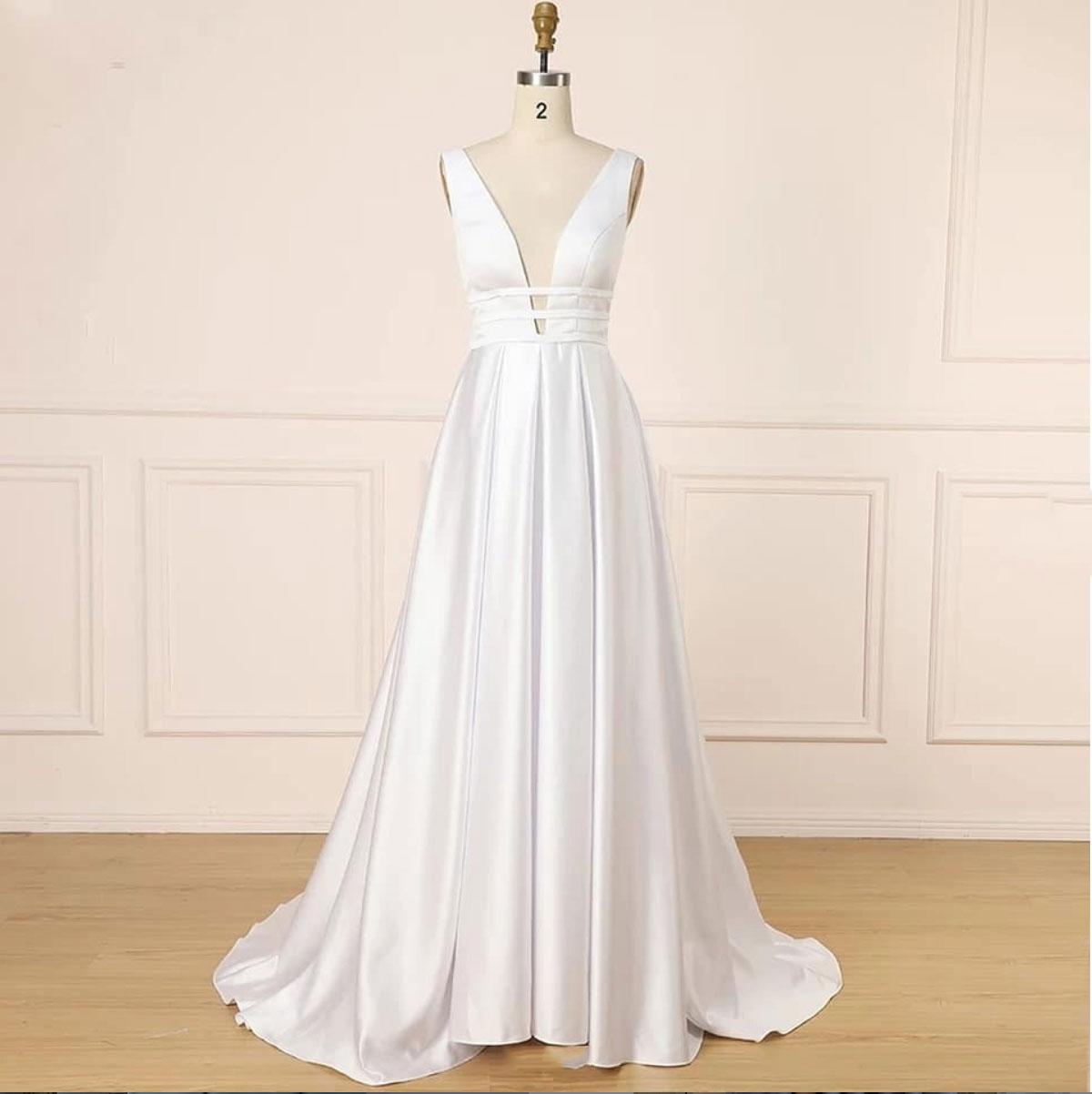 f81a7fd876ca White v neck satin long prom dress, white evening dres · Dreamy ...