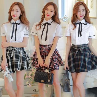 194f016de5 Korean students shirt + plaid skirt two-piece outfit · Shopgogogo ...