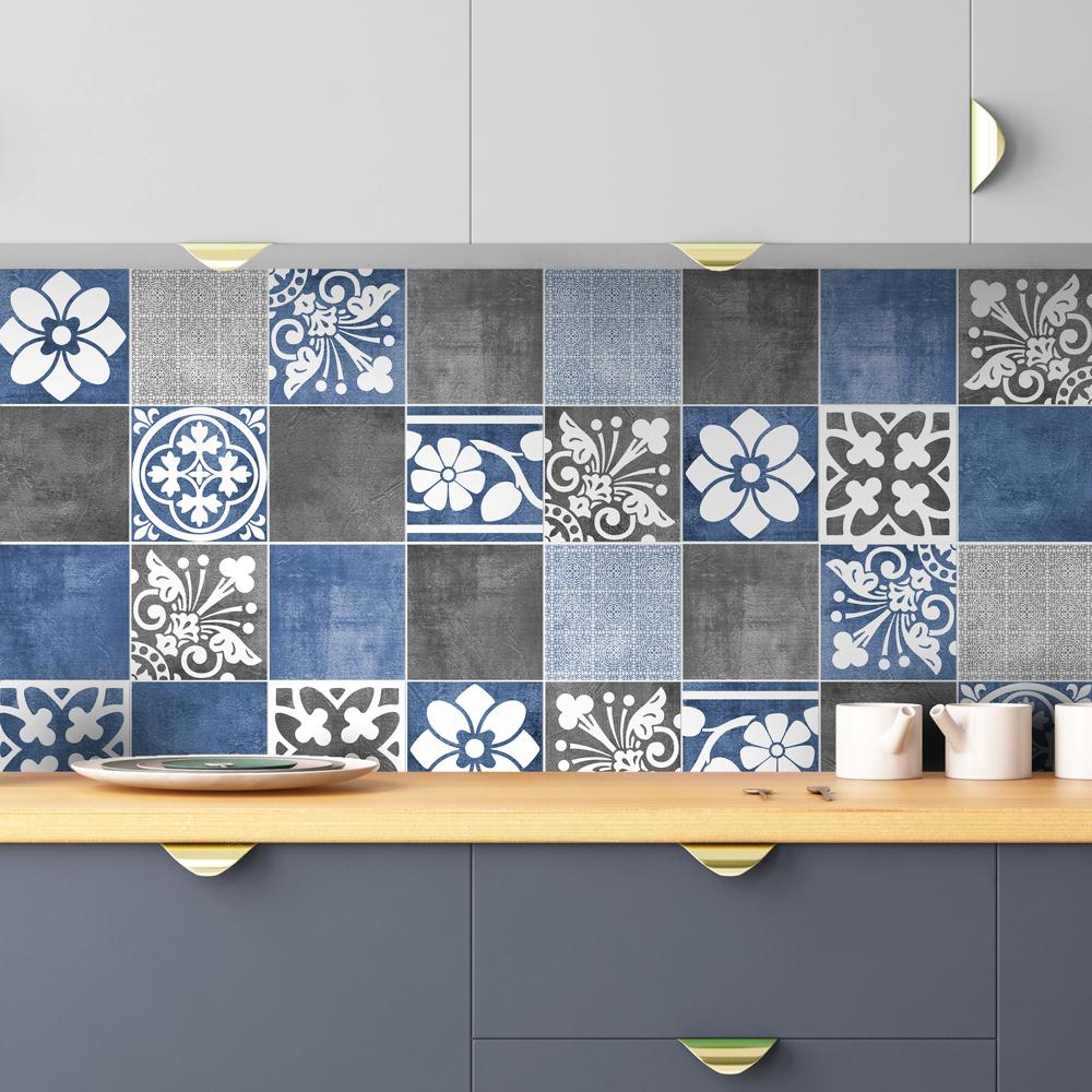- Tile Stickers - Vogue Blue - Tiles Decals - Tiles For Kitchen