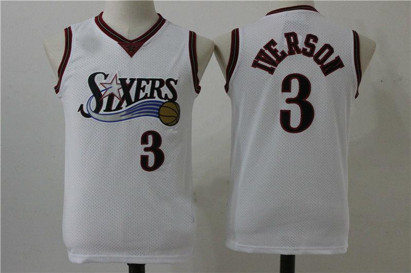 more photos d1503 53cb6 Youth Philadelphia 76ers #3 Allen Iverson Basketball Jersey from topshoes