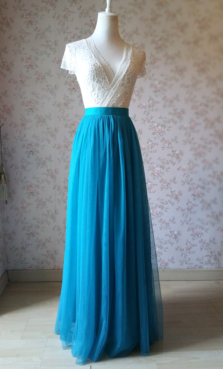 Blue Tulle Tutu Skirt Blue Bridesmaid Tulle Skirt High Waist Maxi Full  Tulle Skirt Wedding Guest Outfits Plus Size sold by Dressromantic
