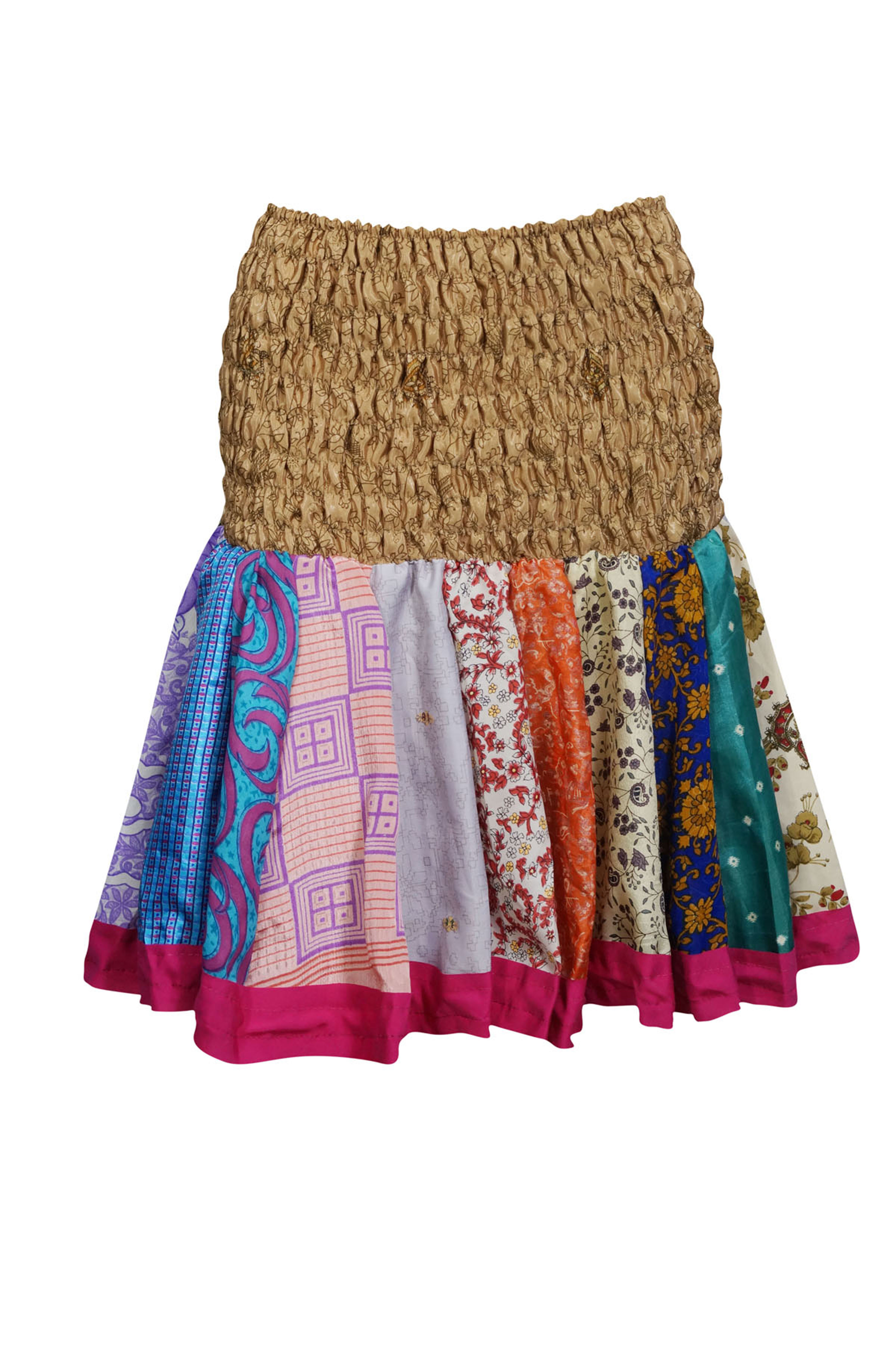 Effortless Colorful Silky Printed Boho Chic Mini Flirty Free Size Skirts Full Flare Ruched Waist Summer Style Flowy Short Skirts For Womens