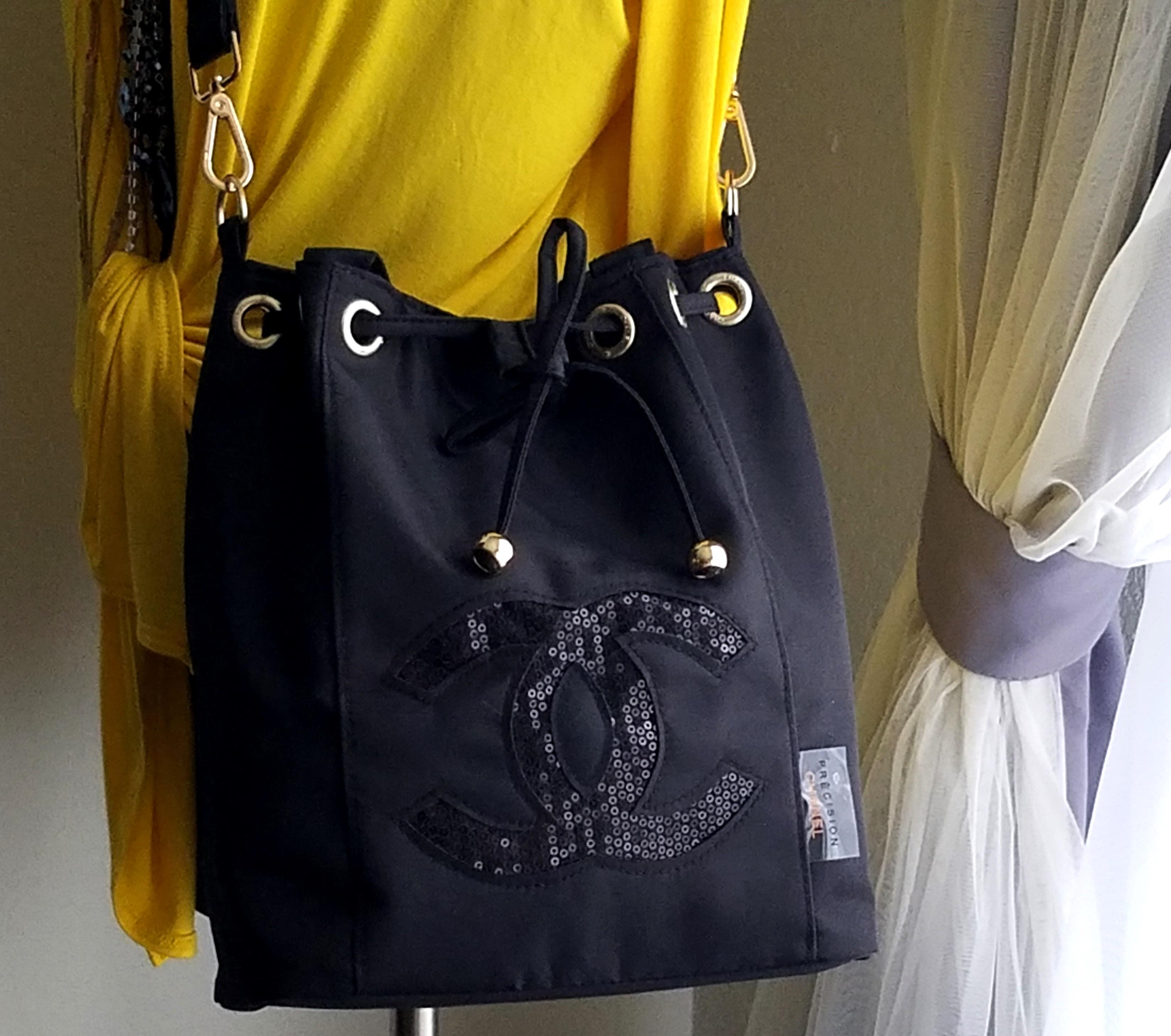 20bc40a797b8 NEW Chanel Vip Gift Black Drawstring Bucket Shoulder Bag on Storenvy