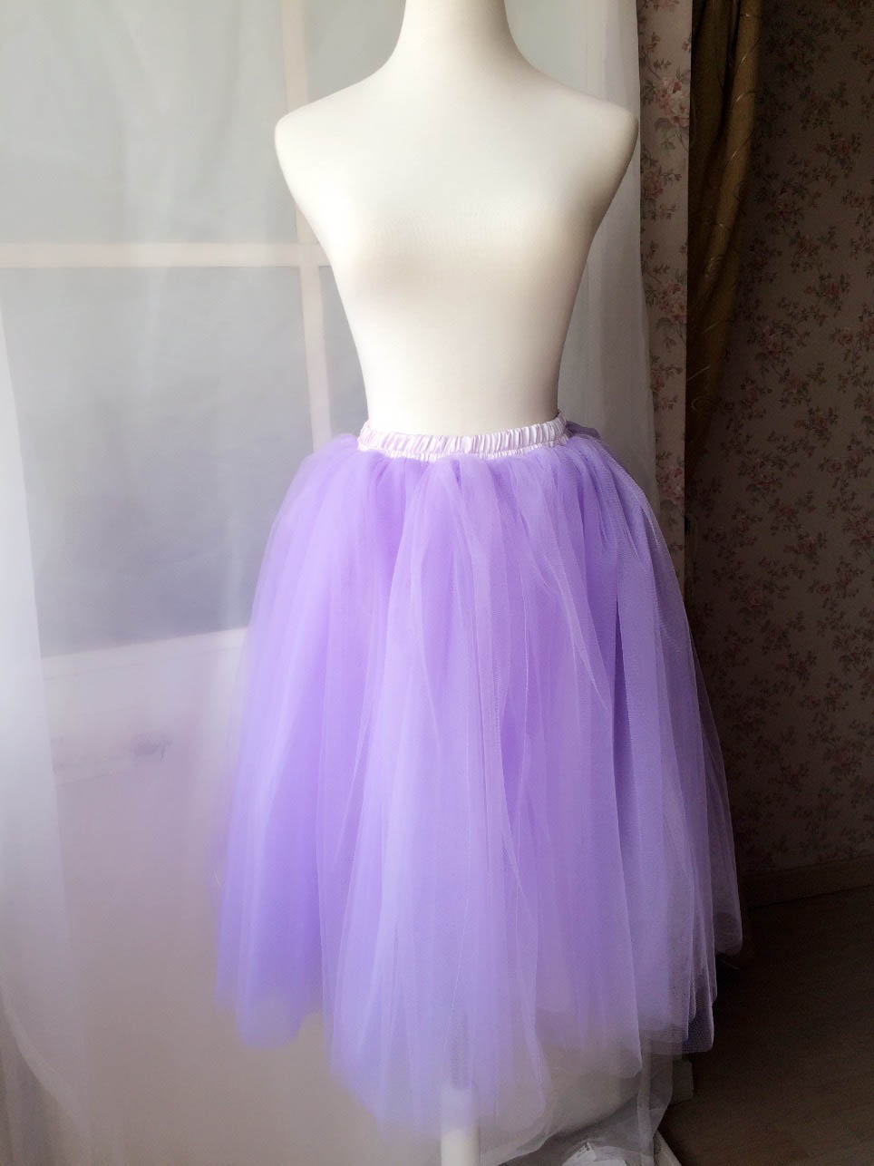 Lilac tulle knee length 5 layer skirt one size