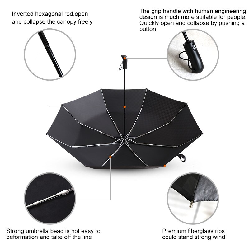 4e3c80e36bad Women For 10k Rain 3Folding Aluminum Travel Business Umbrella Windproof  120cm Automatic Umbrellas Umbrella Grid Big Men Alloy