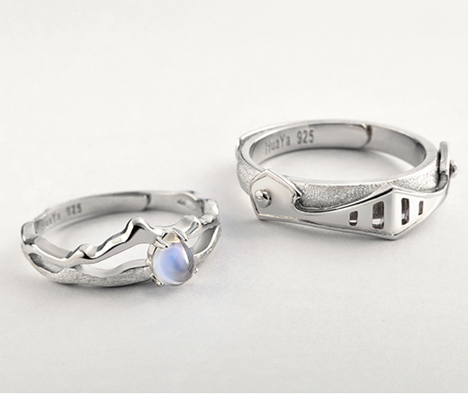 11cbb6a0fa7b9 Princess and knight couple ring a pair of sterling silver simple Japanese  and Korean hipster students open ring