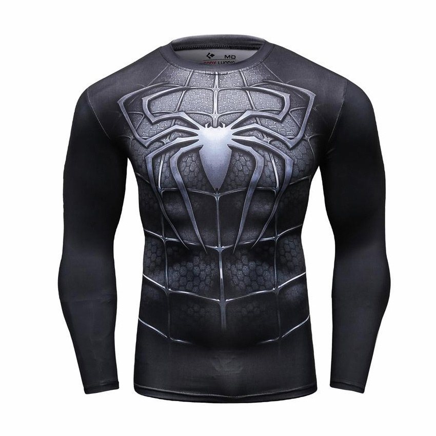 b37a0051 Spider-man 3: Black Spiderman Suit Men's Compression Fitted Long ...