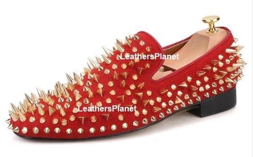 vast selection order online the best New Handmade red velvet with golden Spike Studed Mens Loafers ...