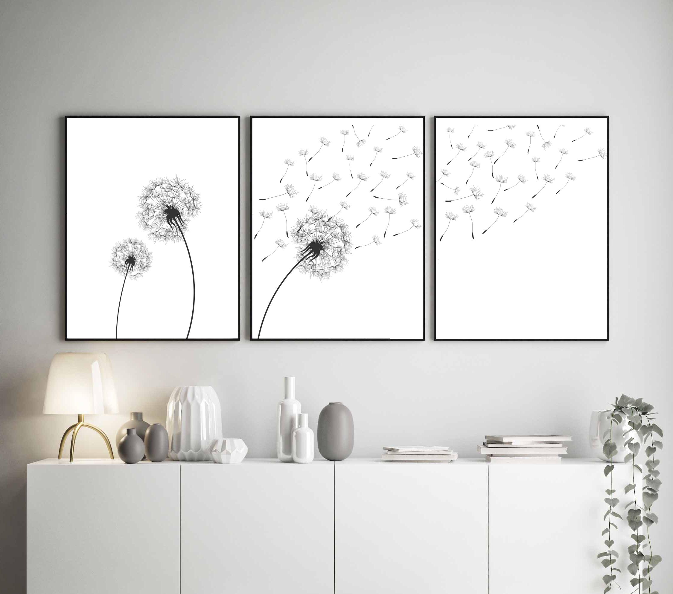 Dandelion Wall Art Dandelion Decor Black White Bedroom: Dandelion Wall Art Print, Set Of 3, Dandelion Prints