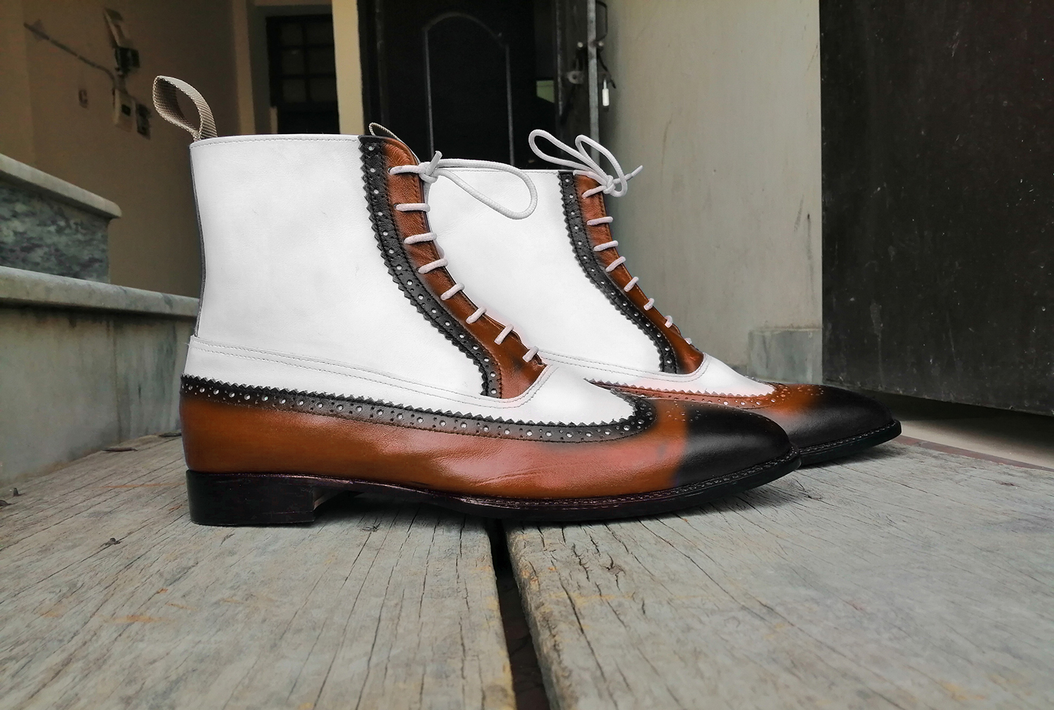 e8150301c43 New Men's Handmade Brown Black White Ankle High Leather Lace Up Wing Tip  Brogue Boot