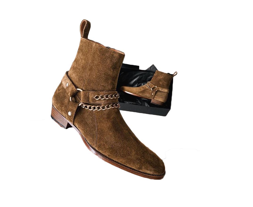 Men's Handmade Brown Ankle High Suede