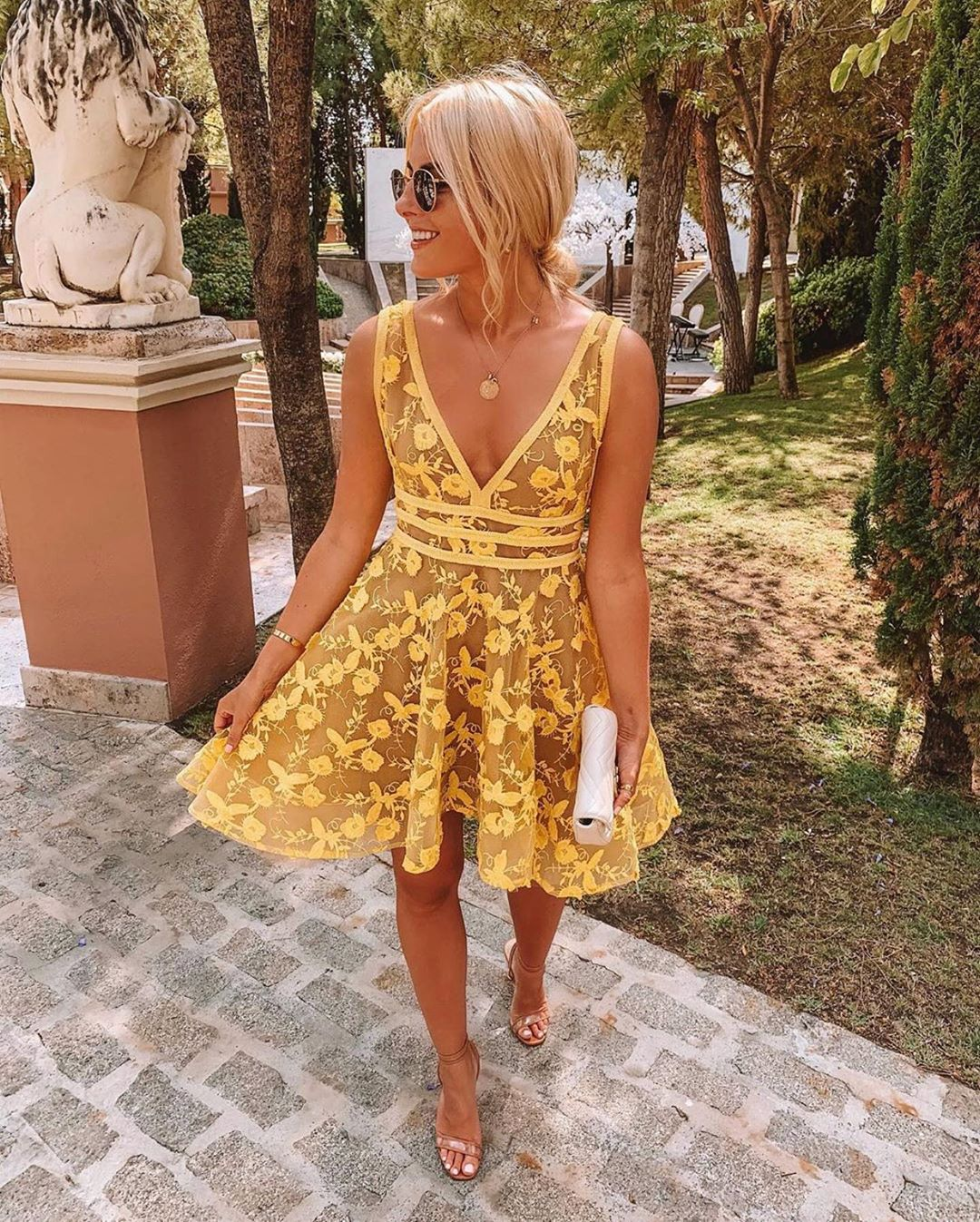 V Neck Short Yellow Lace Homecoming Dress From Modseleystore