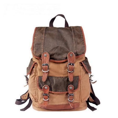 fa3d7e9f4d Retro leather-trimmed canvas hunter backpacks · Vintage rugged ...