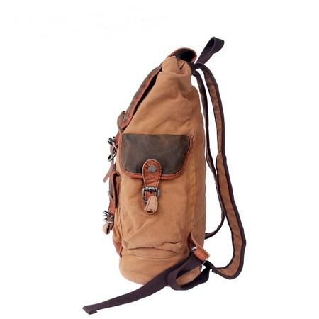 7d5f74c8fd31 Retro leather-trimmed canvas hunter backpacks · Vintage rugged ...