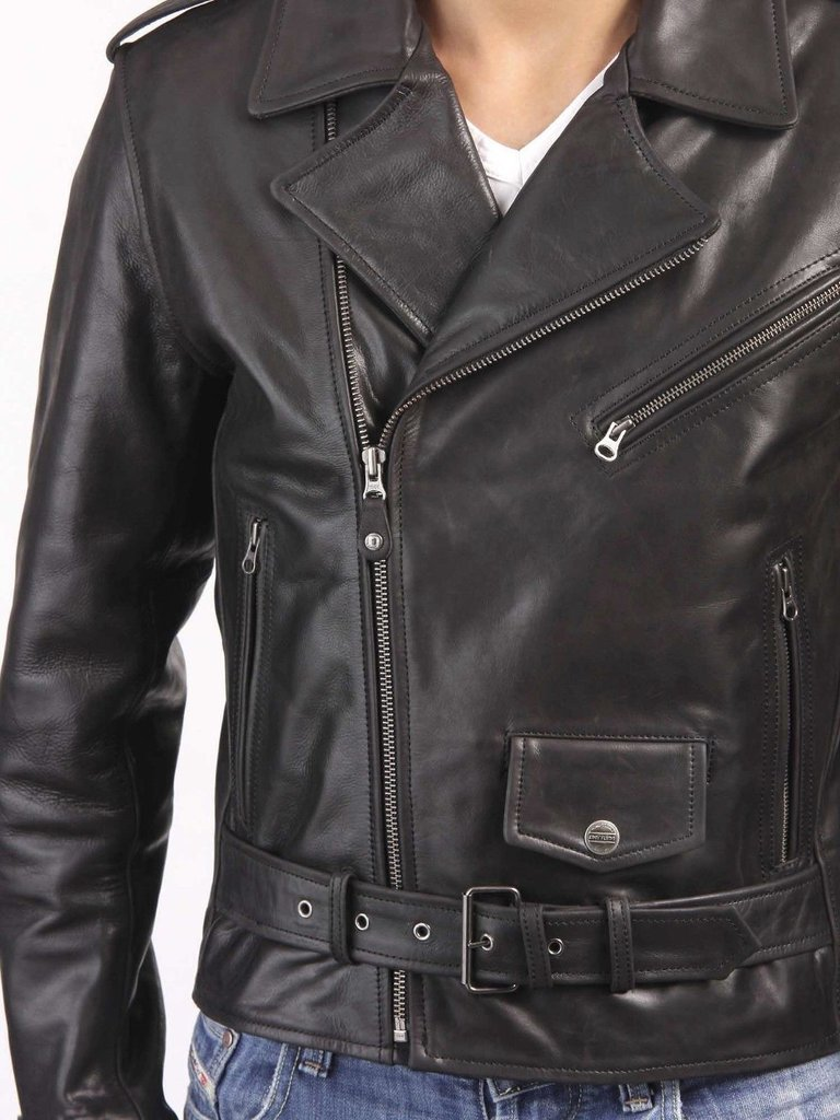 Men blazer style leather jacket with napeel collar, men new