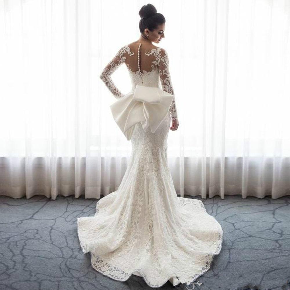 Luxury Mermaid Wedding Dresses Sheer Neck Long Sleeves Full Lace Applique Train