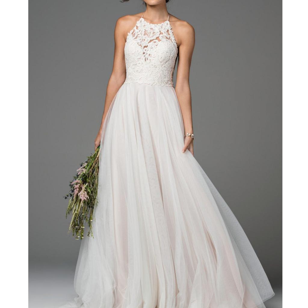 Halter Wedding Dress Long Wedding Dress Open Back Wedding Dress Lace Top Tulle Wedding Dress Charming Bridal Dress130 From Lovefashion