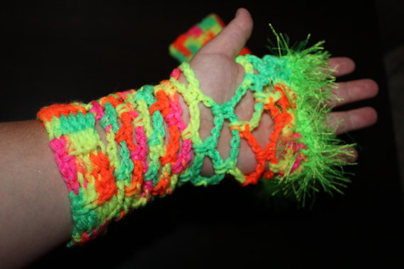 Crochet Neon Colored Fingerless Gloves With Matching Leg Warmers from Pearl  West