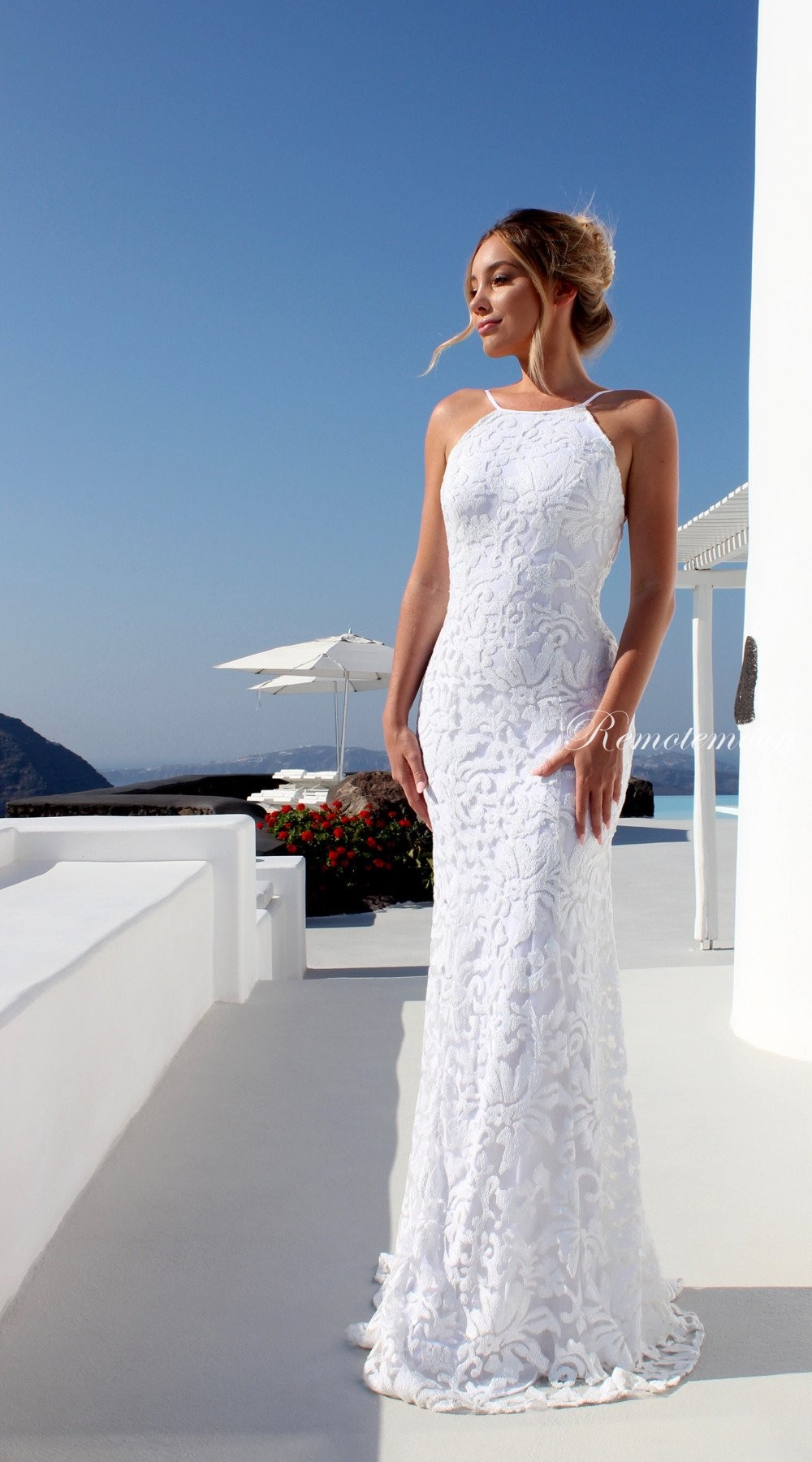 Sexy Halter Backless Mermaid Wedding Dress With Spaghetti Straps Lace Up Low Open Back White Lace Bohe Beach Wedding Dresses 991 From Happybridal