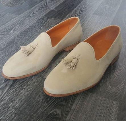 Handmade Men's beige suede loafers, men