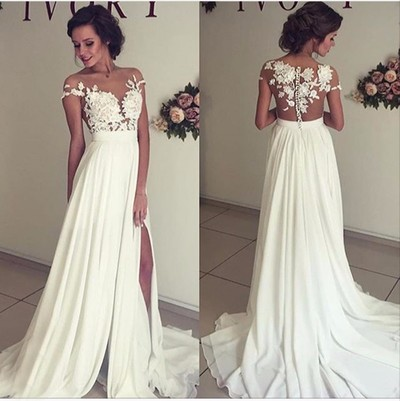 Sexy See Through Lace Appliques Wedding Dresses Charming Side Slit Chiffon Wedding Gowns 189 Prettyprom01 Online Store Powered By Storenvy