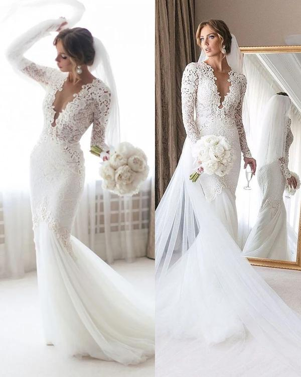 Stunning Deep V Neck White Trumpet Wedding Dresses With Sleeves Sexy Backless Lace Mermaid Wedding Dress Robe Mariee Wedding Gowns Sold By Cherishwedding On Storenvy