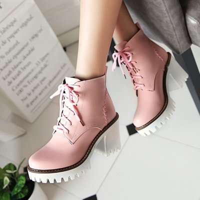 Lace up high heel ankle boots g-3002
