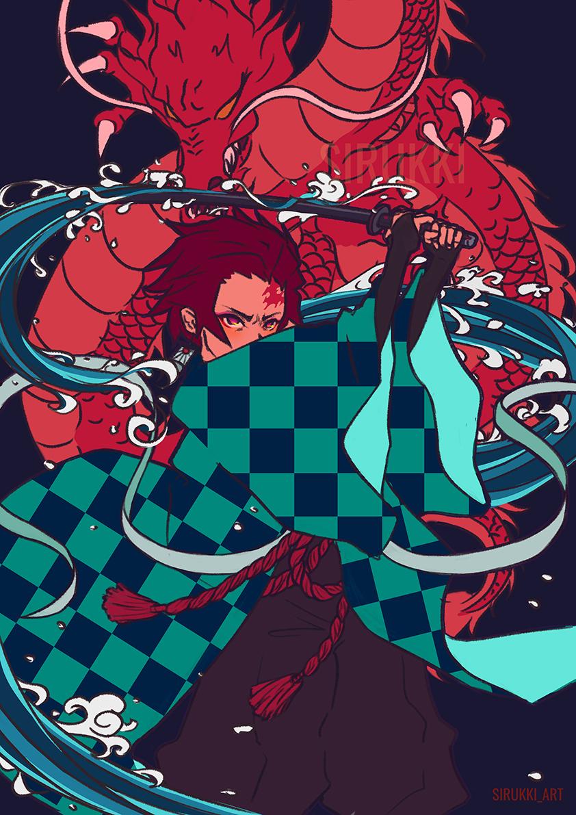 Kimetsu No Yaiba Tanjiro Print Sirukki Art Online Store Powered By Storenvy