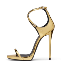 Women's Golden Patent Leather Bag With Cross Buckle High Heel Sandals G6685 - Thumbnail 3
