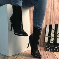 Black Elegant Womens Boots Ankle Short Super High Solid Vintage Boots F6852 - Thumbnail 3
