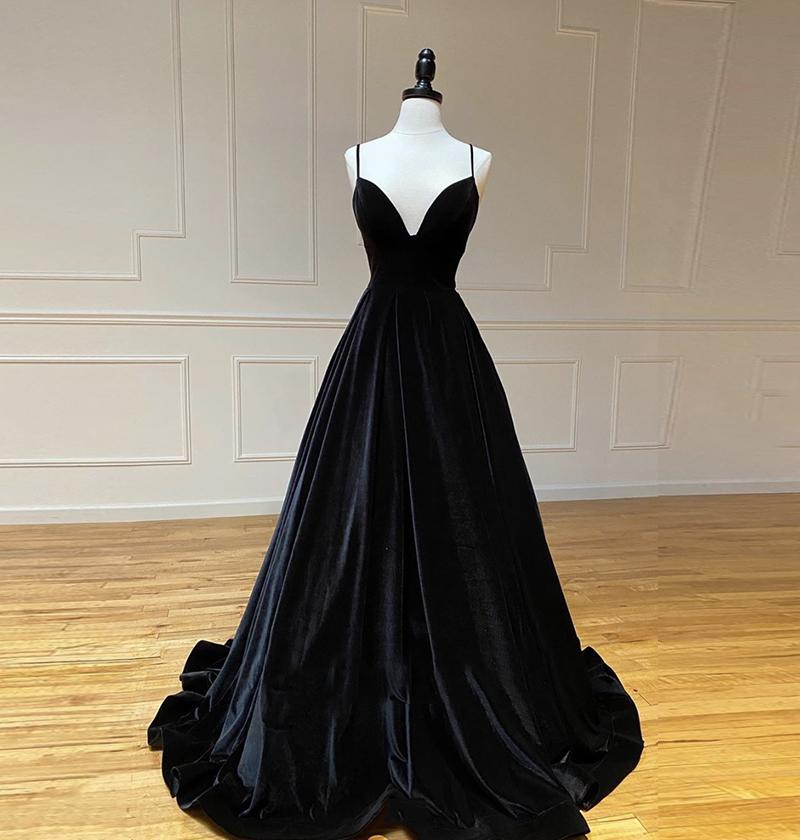 Black v neck velvet prom dress formal