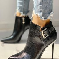 Single Boot Pointed Toe Stiletto Martin Boots High Heel Ankle Boots Sexy Plus Velvet Boots H6752 - Thumbnail 1