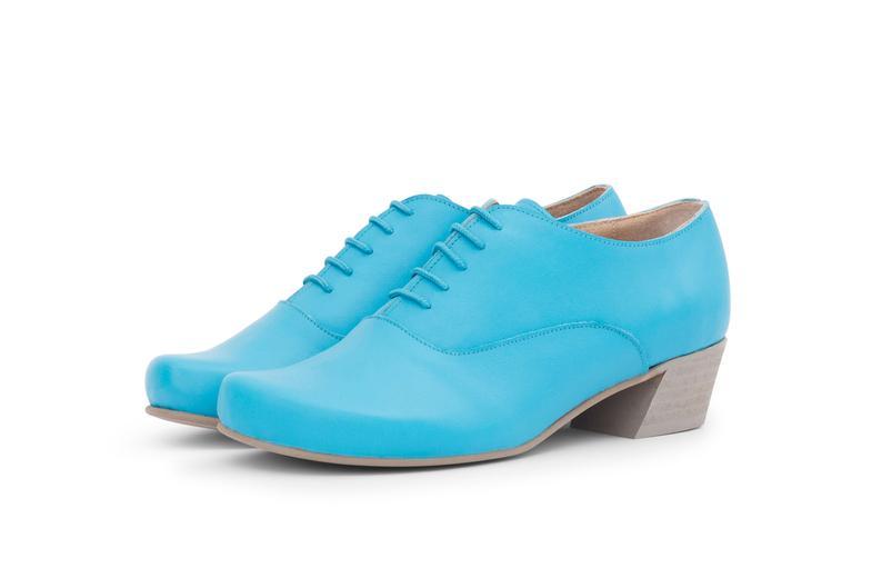 Women Light Blue Oxford Chunky Heel