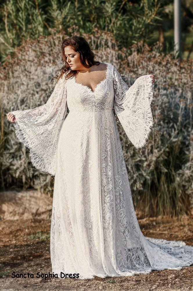 Plus Size Boho Wedding Dress Wedding Dress For Curvy Bride Plus Size Long Sleeves Bohemian Wedding Dress Sancta Sophia Online Store Powered By Storenvy