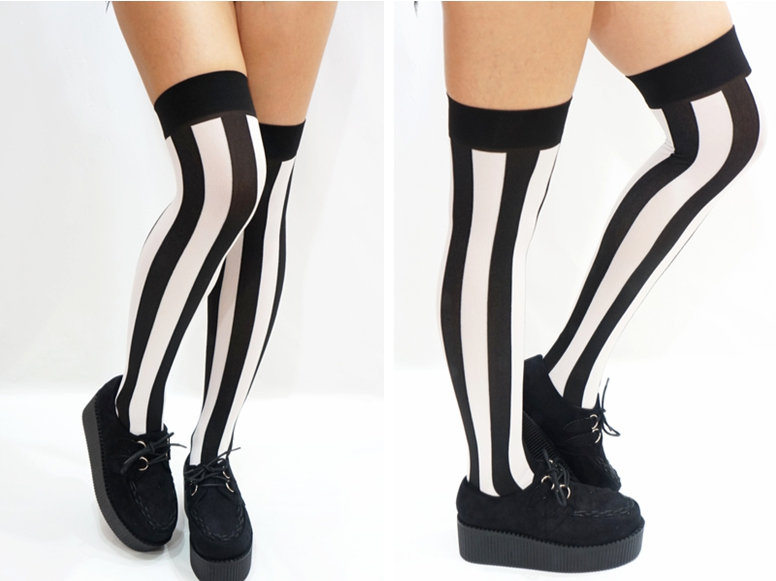 581bed693 B W Vertical Striped Pastel Goth Thigh high Stockings · Sandysshop ...