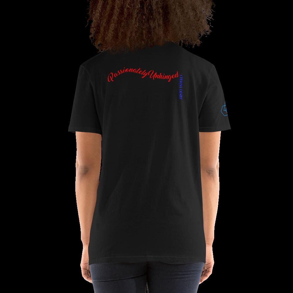 Passionately Unhinged text on back of black t-shirt with geometric Cherish Desire logo on right sleeve