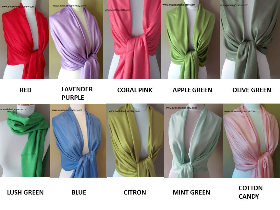 fd609f8c79d17 Pashmina Scarf Set - CHOOSE Any 4 colors - Bridesmaid Gift Idea ...