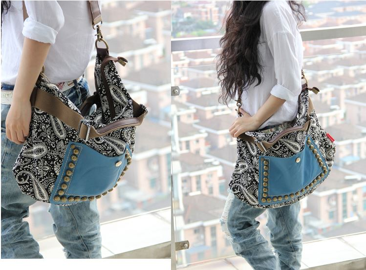 Best Trend Rivet Messenger handbag Sling Canvas Shoulder Bag on ...
