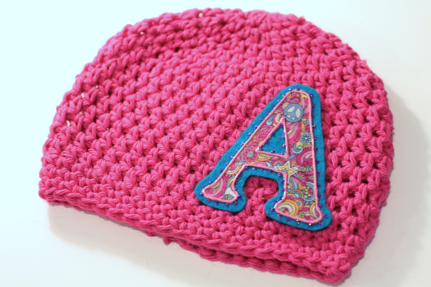 a9a8cc979 Hot Pink Initial Applique Baby Girls, Girls Cotton Crochet Hat, Hippie Chic  Hat,