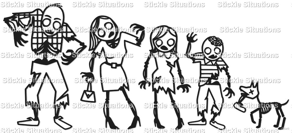 Zombie family car decal